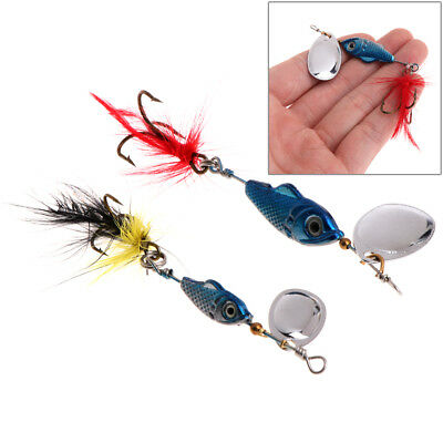 Fishing Bait Fish Lure Hook Fur Spoon Crankbait Rotate Spinner Bass Tackle 11cm
