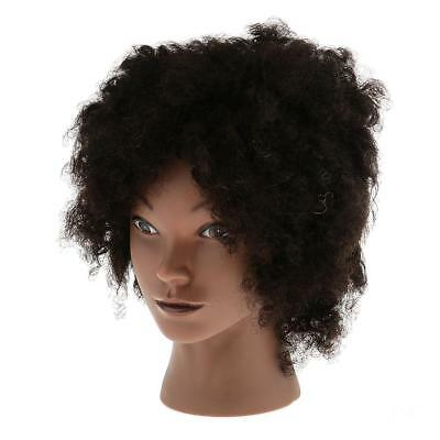 Afro Silicone Cosmetology Practice Training Mannequin Head 100% capelli
