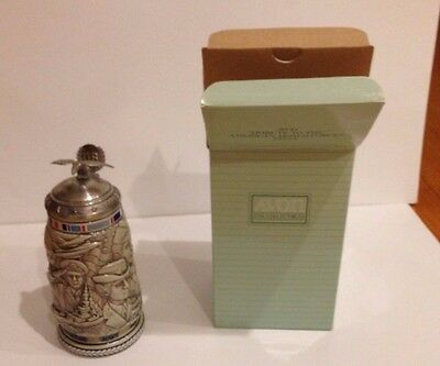 NEW Avon Collectable Ceramic Stein. American Armed Forces. Original Box (1990)