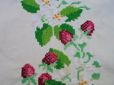 Vintage Wild Strawberries Hand Embroidered Linen Table Cloth Crocheted Edge