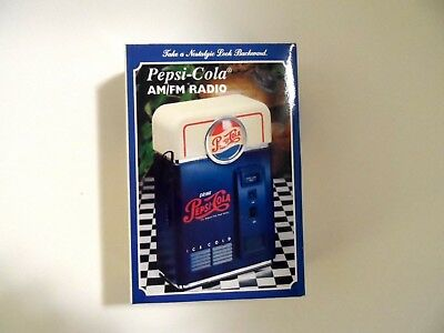 Vintage Nostalgic Look Pepsi Cola Machine AM/FM Radio Portable Battery1998 Music