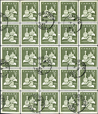 Canada #443a used VF 1965 Christmas 3c olive Mini Pane of 25 with 9 CDS cancels
