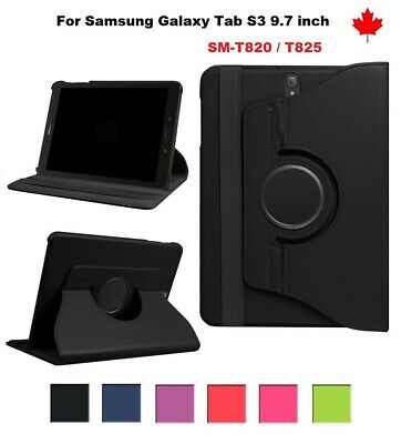 "For Samsung Galaxy Tab S3 (9.7"") SM-T820 T825 - 360° Leather Stand Case Cover"