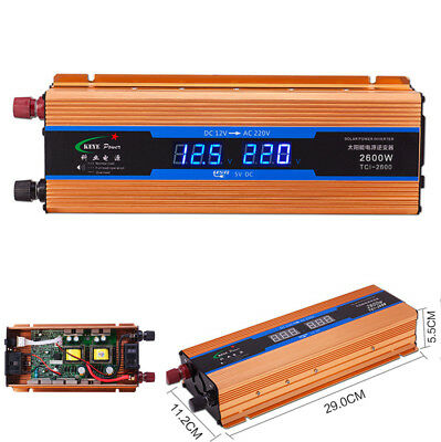Car LCD Digital Display Voltage Power Inverter Phone Charger DC 12V to AC 220V