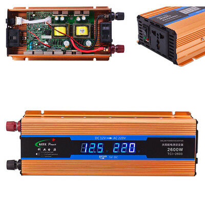 2600W Car LCD Digital Display Voltage Power Inverter Overload Protection Charger