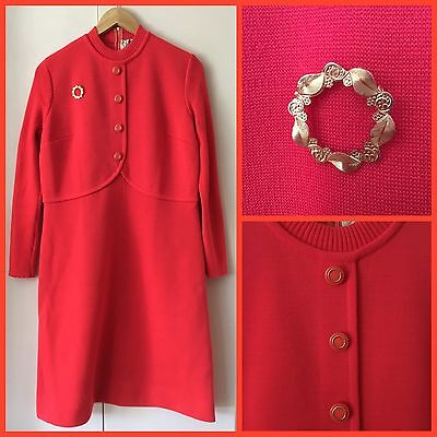 VINTAGE 60's 70's Red PURE WOOL Winter 14 16 SHIFT DRESS Mod RETRO