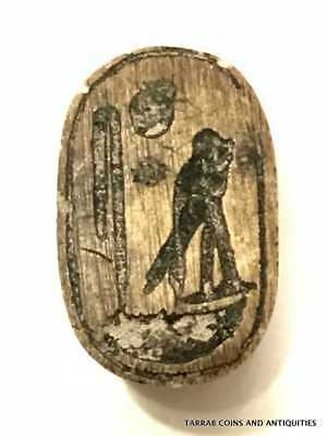 ANCIENT EGYPTIAN SCARAB, RA-HORAKHTY 18TH CENTURY BC! Nice nutty brown color!!!