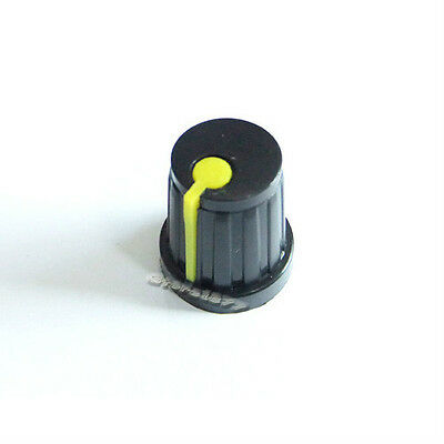 New 5pcs Black Potentiometer Knob with Yellow Pointer High Quality DR001