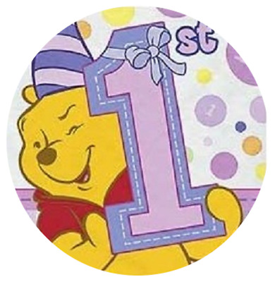 Set Of 12 Personalised Pink Winnie The Pooh 1St Birthday 14X8 Size Lolly Bags