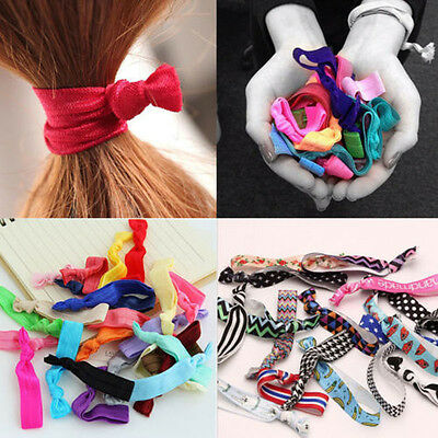 10Pc Girls Multi-color Elastic Ribbon Hair Ties Knotted Hairband Ponytail Holder