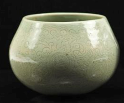 Antique Chinese Celadon Bowl Pot with Incised Leaf Arabesque Designs