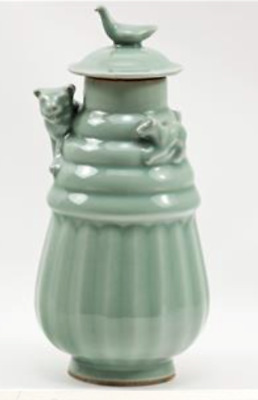 Tiger & Cub Antique Covered Funerary Lunghu Ping Urn Celadon Porcelain Chinese