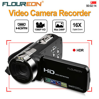 "FLOUREON 24MP Cámara de Vídeo Digital Full HD 1080P 2.7"" 16x Zoom Videocámara DV"
