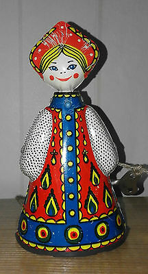 ++Offer  Rare Vintage Russia Doll  Mechanical Wind Up Tin Toy Dancing ++
