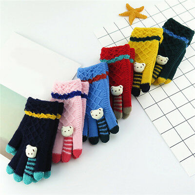 New Kids Boys Girls Warm Cotton Snow Gloves Children Winter Knitted Mittens Gift