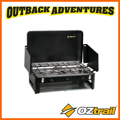 Oztrail 2 Double Burner Low Pressure Stove With Grill Camping Cooking