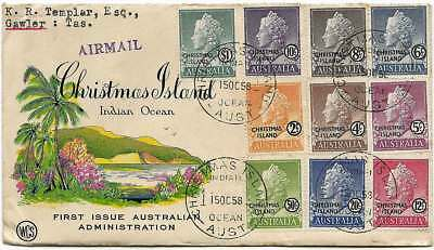 CHRISTMAS ISLAND 1958 Opts QE set to $1 (10) on illustrated WCS FDC to Melbourne
