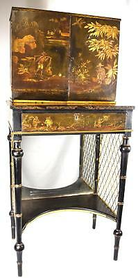 ANTIQUE ORIENTAL HAND PAINTED LACQUER CABINET ON STAND Lot 124A