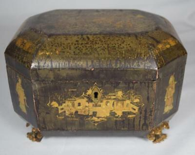 CHINESE EXPORT BLACK LACQUER TEA CADDY: Lot 113