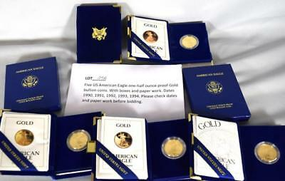 FIVE US AMERICAN EAGLE ONE HALF OUNCE PROOF GOLD BULLION COINS: Lot 27A