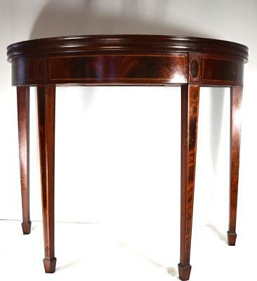 SIGNED A.H. DAVENPORT FEDERAL DESIGN INLAID DEMILUNE TABLE: Lot 117