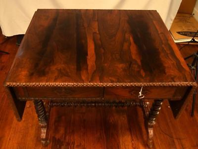 19TH C ENGLISH ROSEWOOD DROP LEAF RECTAGULAR CENTER TABLE: Lot 107