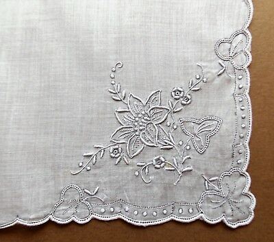 Vintage 1950s New Old Stock Hand Embroidered White Linen Women's Handkerchief