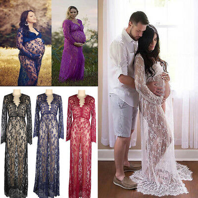 Pregnant Women V-Neck Long Maxi Dress Maternity Gown Photography Photoshoot Lace
