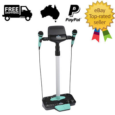 Karaoke Night Party Machine 2 Microphones Adjustable Stand USB AUX Phone Tablet
