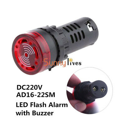 220V 240V 22mm Flash Light Red LED Active Buzzer Beep Indicator AD16-22SM