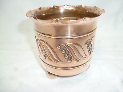 ANTIQUE ARTS & CRAFTS COPPER PLANTER - LILY of VALLEY pattern - JS & S England