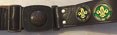 Vintage Boy Scouts belt With CAMBERWELL STH & BOROONDARA DISTRICT Badges
