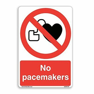 No Pacemakers Prohibition Sign - [A4 200mm x 300mm] Adhesive Sticker