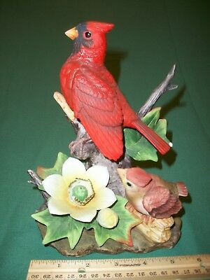 Porcelain Male Cardinal and Baby Bird Figurine by Andrea by Sadek