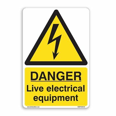 DANGER Live electrical Equipment Sign - [A4 200mm x 300mm] Self Adhesive Sticker