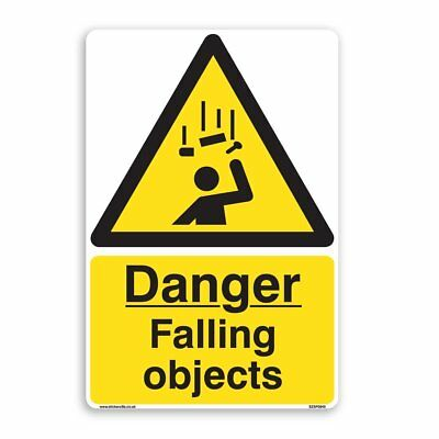 Danger Falling Objects Sign - 5 Pack [A4 200mm x 300mm] Self Adhesive Stickers