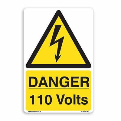 DANGER 110 Volts Warning Sign - [A5 150mm x 200mm] SelfAdhesive Sticker