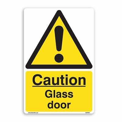 Caution Glass Door Sign - 5 Pack [A5 150mm x 200mm] Self Adhesive Stickers
