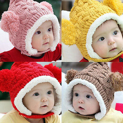 Baby Infant Boys Girls Knitted Crochet Beanie Hat Warm Kids Earflap Cap 3 Colors