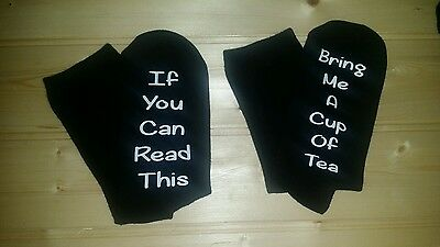 If you can read this/Bring me a Cup of Tea socks gift christmas birthday