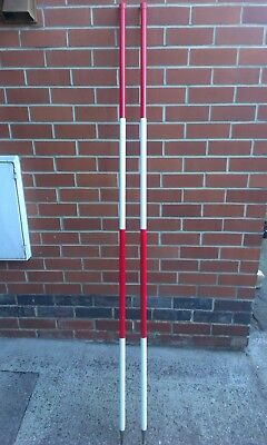 2M Steel Ranging Poles Surveying Red and White 500mm graduations 2-off