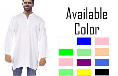 27 Different Color Indian Men's Cotton Kurta Shirt Plus Size Solid Loose Fit 7XL