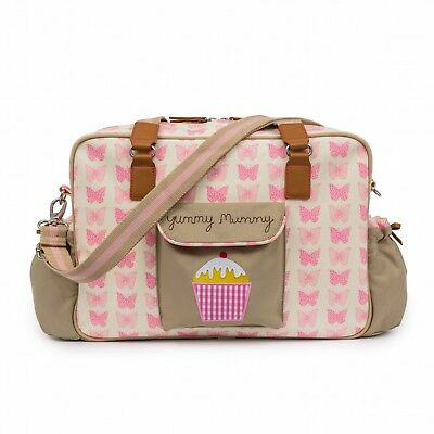 Brand New Pink Lining Yummy Mummy Baby Changing Nappy Bag PINK BUTTERFLIES