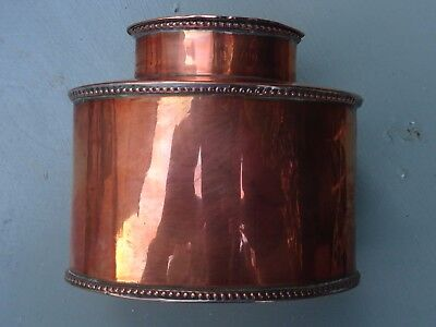 19th century Victorian copper tea caddy - Lovely neat size - Beaded decoration