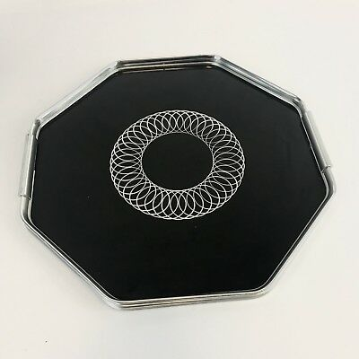 Vintage 1970s CHROME Effect Spirograph TRAY Drinks Serving Cocktail Bar Retro