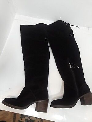 c7a301088d08 NEW  LUCKY BRAND BLACK OILED Suede Over Knee Boot 6.5 M (Wide Calf ...