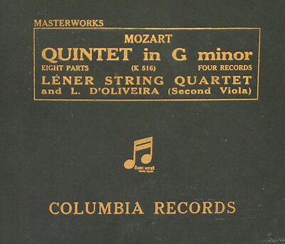 LENER STRING QUARTET & D'OLIVEIRA Mozart: Quintet in G Minor K.516    78RPM A293