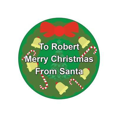 Personalized Christmas Gift Labels/Stickers Bow & Candy
