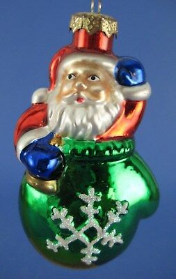 Santa Claus in Green Mitten Glass Christmas Tree Ornament Thomas Pacconi