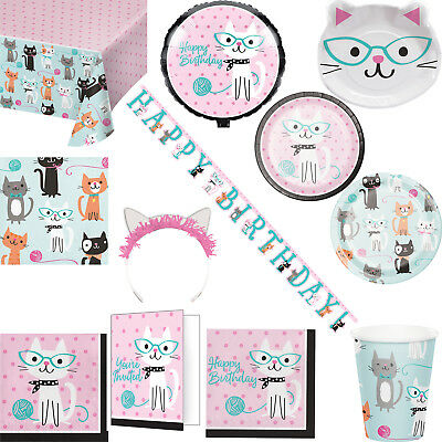 Girls Purrfect Cat Party Birthday Tableware Balloon, Banner and Invitations